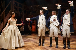 HAMILTON - Public Theater/Newman Theater - 2015 PRESS ART - Carleigh Bettiol, Lin-Manuel Miranda, Leslie Odom Jr., and Anthony Ramos - Photo credit: Joan Marcus