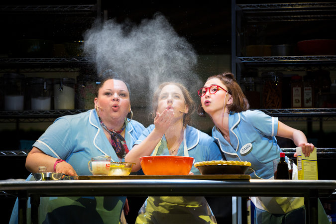 "From left, Keala Settle, Jessie Mueller and Kimiko Glenn in ""Waitress."" Photo Credit Sara Krulwich/The New York Times"